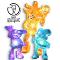 Mascotes da Copa de 2002 na Coreia do Sul e Japão - Ato, Kaz e  Nik