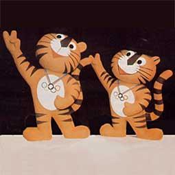 Mascote dos Jogos Olímpicos de Verão - Seul 1988 - Tigres Hodori e Hosuni