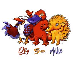 Olly, a kookaburra, Syd, a platypus and Millie, an echidna - Mascots - Sydney 2000 - Games of the XXVII Olympiad - Summer Olympic Games